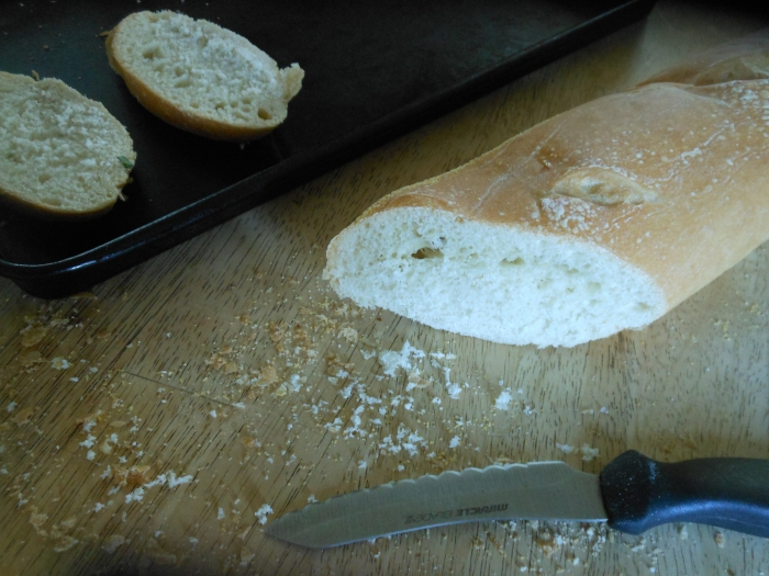 baguette, sliced