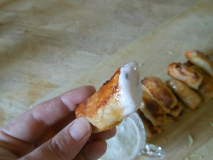 buffalo chicken rolls in creamy blue cheese