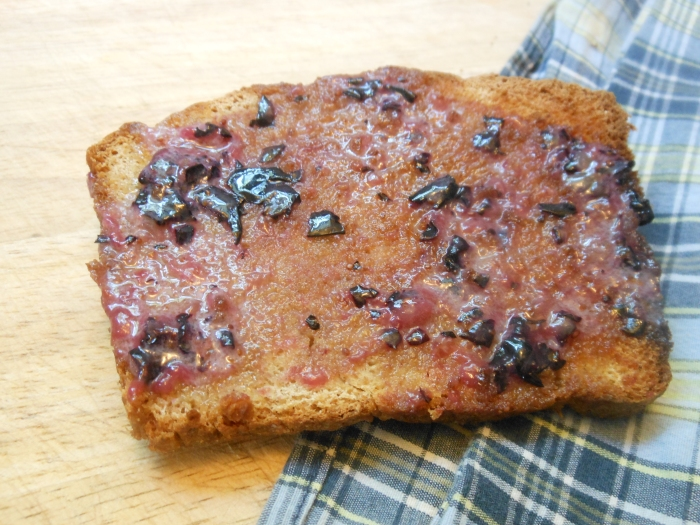 homemade honey wheat loaf with blueberry butter