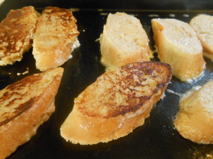 sliced baguette, dunked in egg and grilled