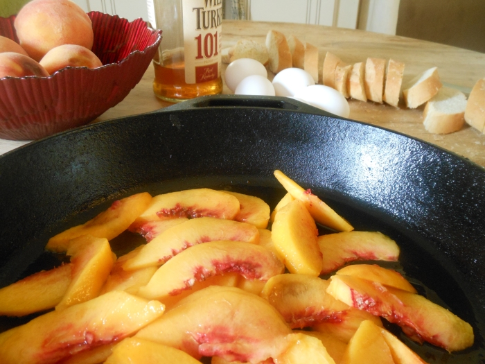 peaches, eggs, day old bread, and Wild Turkey