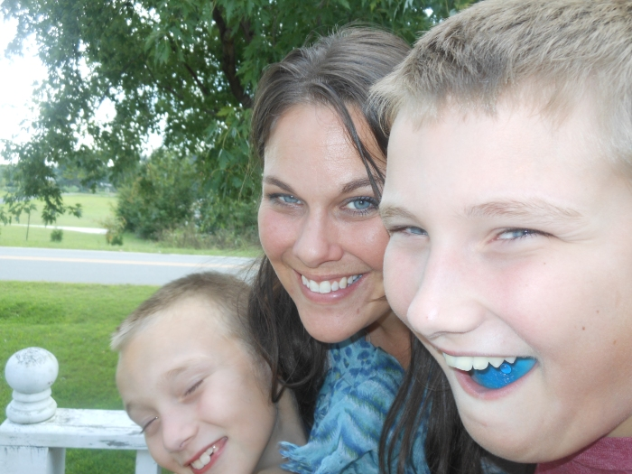 me & my babies; Andrew's been eating blue candy. Can you tell?