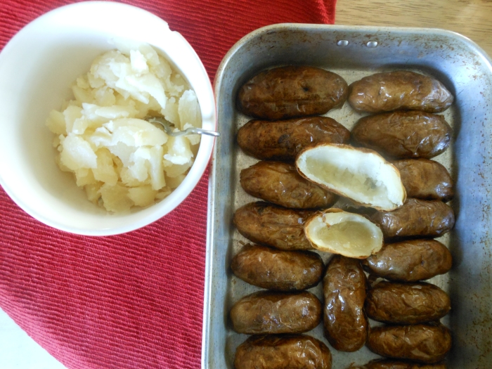 preparing potato skins