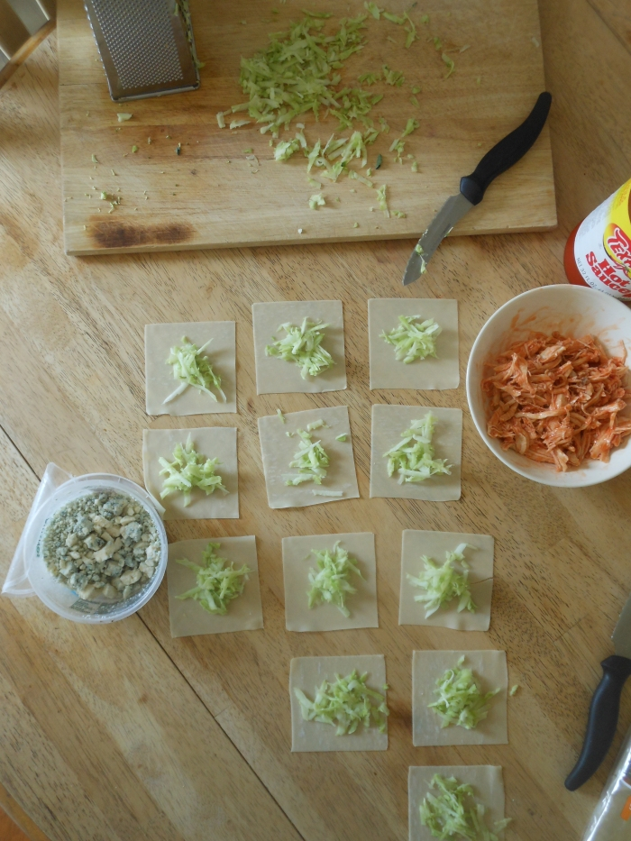 setting up for baked buffalo chicken rolls